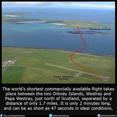 The shortest commercial flight is just 2 minutes long....!