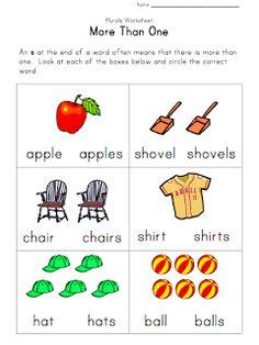 Free worksheet about singular and plural nouns. Plural Nouns Worksheet, Plurals Worksheets, Singular And Plural Nouns, Graphing Activities, Free Kindergarten Worksheets, Therapy Activities, Rhyming Worksheet, Reading Worksheets, Kid Activities