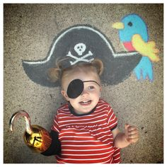 Pirate sidewalk chalk art