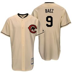 Mitchell And Ness Cubs #9 Javier Baez Cream Throwback Stitched MLB Jersey