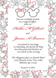 Mickey Mouse Wedding Invitations, Mickey and Minnie, Disney ...