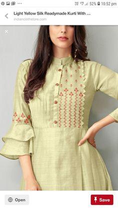 Neck design for kurta - Dress Silk Kurti Designs, Salwar Neck Designs, Kurta Neck Design, Neck Designs For Suits, Sleeves Designs For Dresses, Kurta Designs Women, Dress Neck Designs, Kurti Designs Party Wear, Neck Design For Kurtis