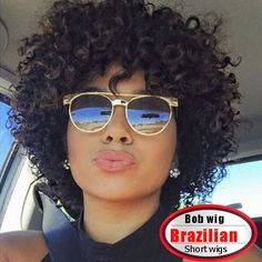 100.00$  Watch now - http://aliki3.worldwells.pw/go.php?t=32705233719 - Short brazilian deep curly wave lace front wigs 10inch natural black human hair wigs 130% for black women medium lace color