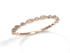 14 Karat Rose Gold Stackable Ring With 19=0.08Tw Round H/I Si2 Diamonds
