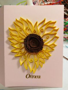 Congratulation card, heart, sunflower by quilling Quilling Cards, Congratulations Card, Brooch, Heart, Projects, Jewelry, Log Projects, Greeting Card, Blue Prints