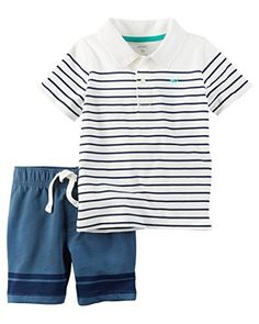 5016f050f Carters Boys 2 Piece Polo Shirt Set 5T White ** You can get more details
