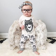 """Baby Boy/Girl Cotton """"Little Monsters"""" Long Sleeve Top + Bottom - 4 Styles"""