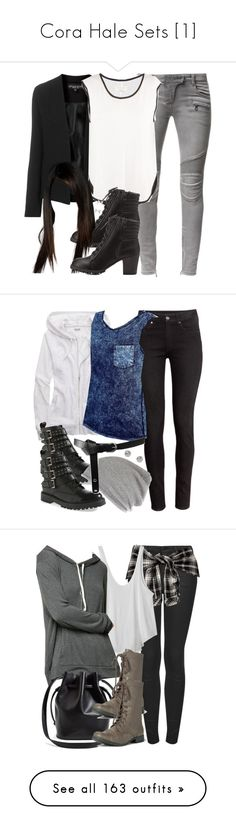 """""""Cora Hale Sets [1]"""" by demiwitch-of-mischief ❤ liked on Polyvore featuring Balmain, Topshop, rag & bone, Charlotte Russe, Eddie Borgo, H&M, Aerie, Vero Moda, River Island and ASOS"""