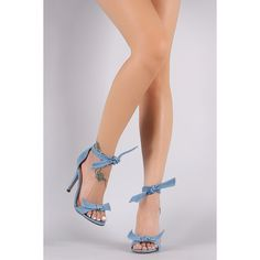 Denim Knotted Ankle-Tie Single Sole Heel ($30) ❤ liked on Polyvore featuring shoes, pumps, stiletto shoes, ankle strap stiletto pumps, ankle strap stilettos, stiletto heel pumps and ankle wrap shoes