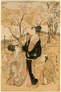 March: Viewing Cherry Blossoms Series: Twelve Months by the Two Artists Toyokuni and Toyohiro Utagawa Toyohiro (Japan, 1773-1828) Japan, late 18th-early 19th century Prints; woodcuts Color woodblock print