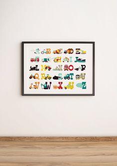 TRANSPORT ALPHABET PRINT Instant Download Print alphabet   Etsy Alphabet Nursery, Alphabet Print, Nursery Prints, Nursery Art, Classroom Themes, Art Classroom, Red Truck Decor, 3 Piece Wall Art, Halloween Prints