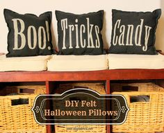 Lots of cute Halloween pillows to make - use vinyl, fabric or stencils to DIY your own Halloween pillows for your cute and spooky home decor Halloween Themed Food, Diy Halloween Decorations, Spooky Halloween, Halloween Themes, Halloween Party, Halloween Pumpkins, Happy Halloween, Wicked, Felt Pillow