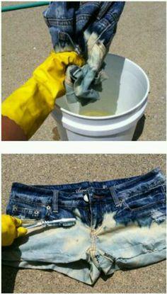 66f43933b2e04e Fashion DIY  Bleached denim shorts-jeans for me.