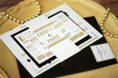 Wedding Invitation Art Deco Seen in Olive and by NINE7OHDESIGNS, $150.00