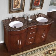 Digital Art Gallery Silkroad Exclusive Cambridge Inch Double Sink Cabinet with Drawers Doors Baltic Brown Granite Top and Undermount White Ceramic Sinks in Cherry