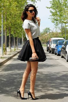 Sylwia Majdan Black Tulle Layered Ruffle Skirt Dress