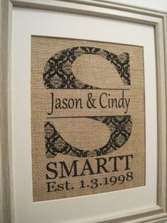 Burlap Monogram Gift Burlap Wedding Burlap Art by SunBeamSigns