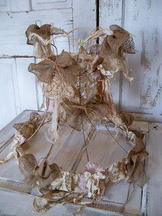 Handmade lamp shade fabric shabby chic burlap tattered OOAK Anita Spero.