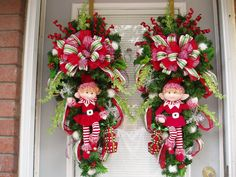Christmas,  Double Door  Wreath Swag II with Red n White Outfitted Elf  PAIR-- Boy & Girl, Holiday Wreath Swag