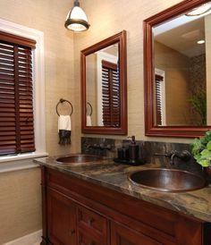 Small bathroom ideas. Window trim should be dark brown.