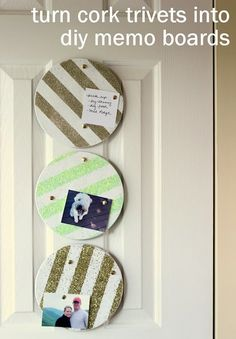 turn cork trivets into diy memo boards