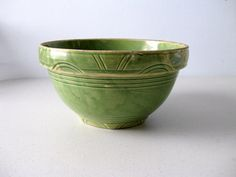 Antique yellow ware dough bowl green number 10 by LookBackVintage, $70.00
