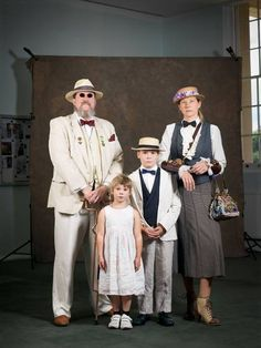 Nuclear family: Stephen Woollard and Vikki Thomas with their children Katie and Michael embody Major Tinker's 'old-fashioned manners and val...