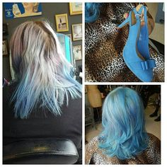 Challenge :match hair to bridesmaid shoes. #bluehair #mermaidhair #pastelhair #rockalily