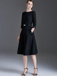 84c5e21bcda5b9 Black Plain Belted Waist Swing Midi Dress