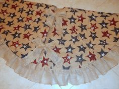 70 Inch LARGE USA Burlap Christmas Tree Skirt Silver Red And Blue Stars