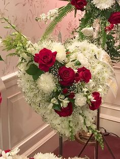 Funeral Flowers, Floral Heart Tribute by Petals Warwick RI. Funeral Flower Arrangements, Funeral Flowers, Funeral Sprays, Church Decorations, Sympathy Flowers, Valentine Day Wreaths, Heart Wreath, Red And White, Centerpieces