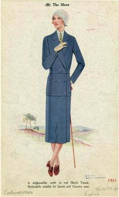 A long lined, elegant walking suit from 1930. #vintage #fashion #1930s