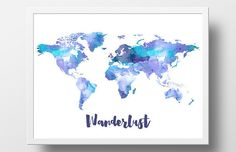 Printable World Map Poster Watercolor Wanderlust World Map Print Digital Turquoise Blue Watercolor Nursery Wall Art