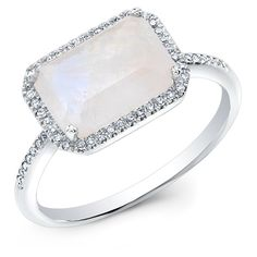 14KT White Gold Moonstone Diamond Chic Ring ($765) ❤ liked on Polyvore