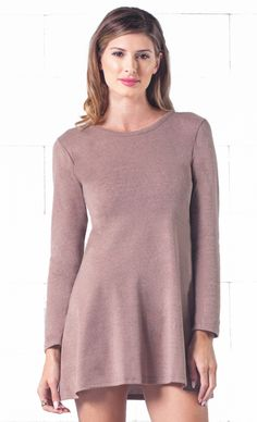 Indie XO Light Brown O-Neck Long Sleeve Skater Circle A Line Flared Tunic Mini Dress - Just Ours