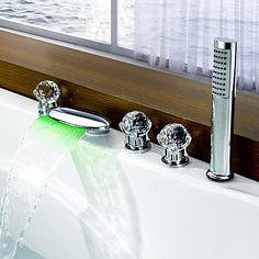 Moderne Romersk Kar LED Vandfald bred spary with Keramik Ventil To Håndtag fem huller for Krom Badekarshaner