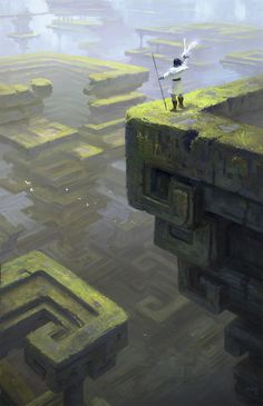 Art by Kaz. Adventurer faces a dream-like, puzzling fantasy landscape. How will he navigate it?