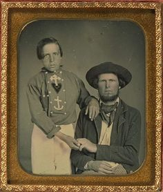 ca. 1840-60, [Daguerreotype portrait of an unusually posed pair, identified on verso as Jacob and Thomas Kesey. The boy appears to be wearin...
