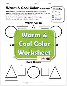 Warm & cool color worksheet is designed to help students identify warm and cool colors. Students should mix their own colors. This worksheet can be completed with various mediums (paint or pastels, even colored pencil). This is a 1 Page PDF that includes Middle School Art, Art School, School Ideas, High School, Elementary Art Lesson Plans, Art Classroom Management, Art Handouts, Warm And Cool Colors, Art Worksheets