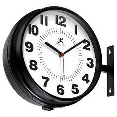 Let the versatility and functionality of the Hallway from Infinity Instruments be the finishing touch in your office or business. With the interchangeable mounting bracket, you can place your clock on a wall or hang it from the ceiling. The double sided feature allows people to view the time no matter the direction they're facing. The black steel case and the bold numbers gives this clock a clean and classic look that will stand the test of time.