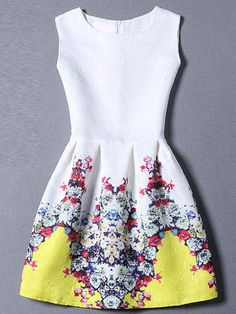 Multicolor Round Neck Sleeveless Floral Dress -SheIn(Sheinside) Mobile Site