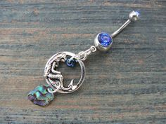 abalone mermaid belly ring mermaid siren charm abalone in fantasy boho gypsy hippie belly dancer  beach and hipster style on Etsy, $16.50