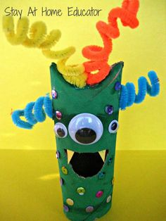 Pape Tube Monster Fine Motor Craft - Stay At Home Educator.