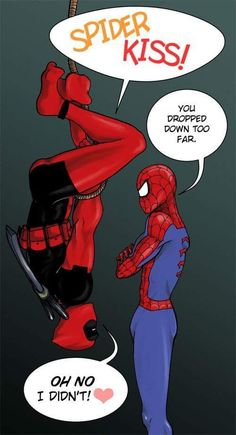 "Deadpool, are you hiding a chimichanga in your pants or are you just happy to see Spiderman? View Times The Internet Shipped Deadpool + Spiderman and You Loved It"" and more funny posts on Dorkly Deadpool X Spiderman, Deadpool Funny, Deadpool Stuff, Spiderman Spider, Spideypool, Superfamily, Batgirl, Catwoman, Marvel Images"