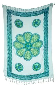 Sita Medallion Tapestry, Wall Hanging, and Bedspread (3 X 5.5 Feet, White and Teal, 100% Rayon) | Luna Bazaar