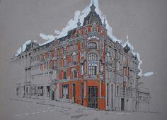 Urban Landscape Illustration Building Ideas For 2019 Watercolor Architecture, Architecture Drawings, Stairs Architecture, City Sketch, City Drawing, Building Drawing, Toned Paper, Landscape Drawings, Landscapes