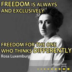 """""""Freedom is always, and exclusively, freedom for the one who thinks differently."""" German socialist revolutionary #RosaLuxemburg was born as the youngest of five children in a lower-middle-class Jewish family #OTD in 1871. On 15th January 1919 she was murdered along with her fellow revolutionary Karl Liebknecht by right-wing paramilitary Freikorps troops. Her body, thrown into a canal, was not retrieved until five months later."""