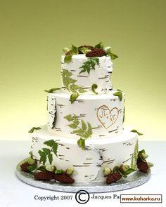 Rustic wedding cake - love this birch wedding cake! Birch Wedding Cakes, Themed Wedding Cakes, Wedding Cake Rustic, Fall Wedding Cakes, Tree Wedding, Woodland Wedding, Forest Wedding Cakes, Log Cabin Wedding, Camo Wedding
