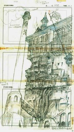 "ghibli-collector: "" Spirited Away Bathhouse, Hayao Miyazaki's Layout and the original Background "" Hayao Miyazaki, Totoro, Spirited Away Bathhouse, Spirited Away 2, Layout Design, Art Studio Ghibli, Animation Storyboard, Animation News, Ghibli Movies"