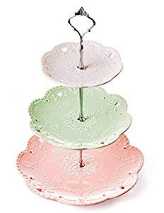 Amazon.com | Jusalpha 3-tier Porcelain Cake Stand-Dessert Stand-Cupcake Stand-Tea Party Serving Platter, 3 Color (Silver): Cake Stands